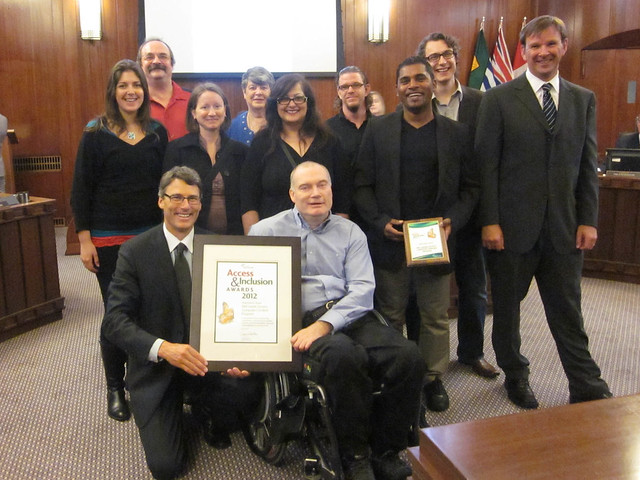 Access and Inclusion Awards May 2012.  Picture of Neil Squire Society Staff and Mayor Gregor Robinson