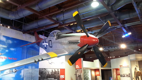 """A P-51 Mustang, the 99th Fighter Squadron's plane of choice, affectionately called """"Red Tails"""" for their painted red tails"""