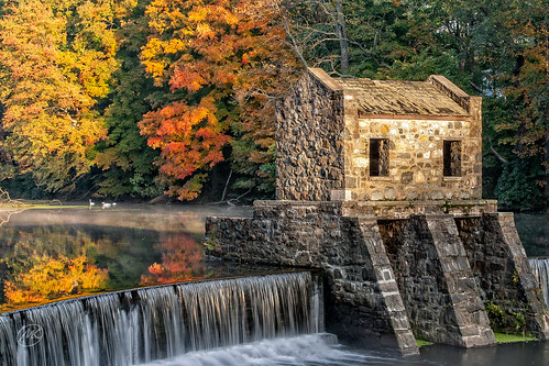 fall landscape river waterfall reflection swans dam newjersey morristown lakespeedwell