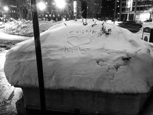 Snow as canvas for love