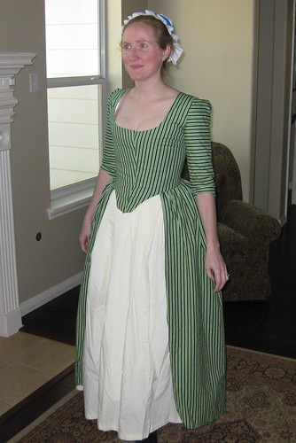 1770s Green-Striped Anglaise - Front