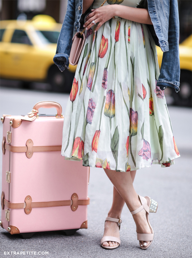 asos tulip dress dune sandals steamline pink luggage