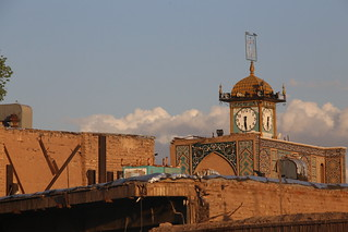 The clock tower on the Jame Mosque.