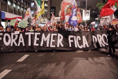 Ato contra Temer ocupa as ruas da Avenida Paulista. A manifestação terminou na Praça Roosevelt, no centro de São Paulo