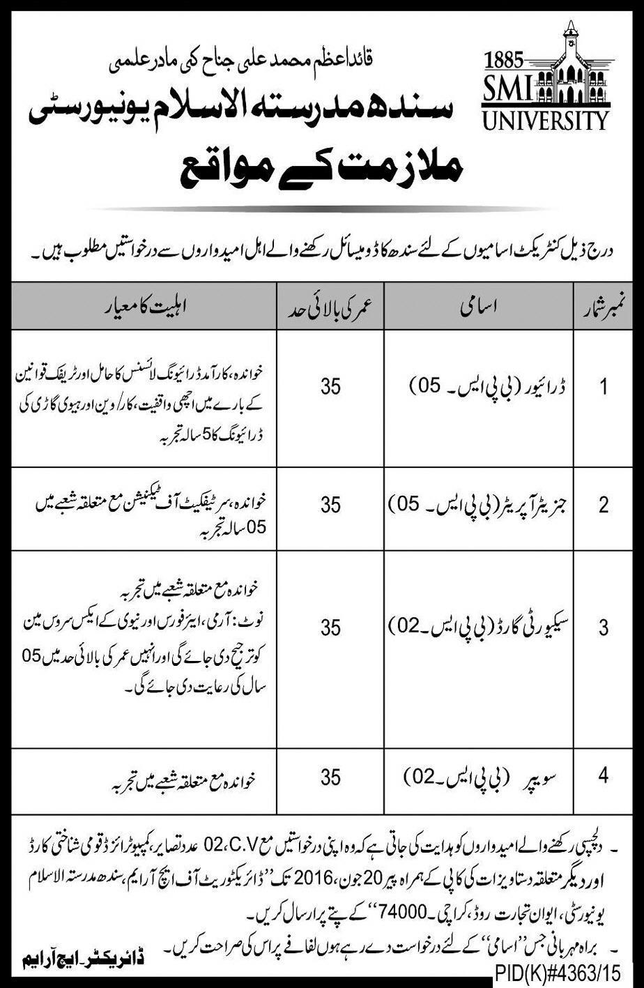 Sindh Madrassatul Islam Jobs