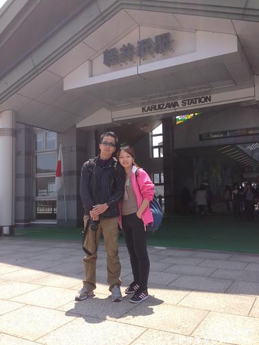 輕井沢站前來個合照(2)