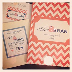 So obsessed with this incredibly thoughtful personalized wedding gift from @angelabcd! An anniversary journal is such a neat idea! #adielandsean #wedding #gift #chevron #love #instagood #amazing
