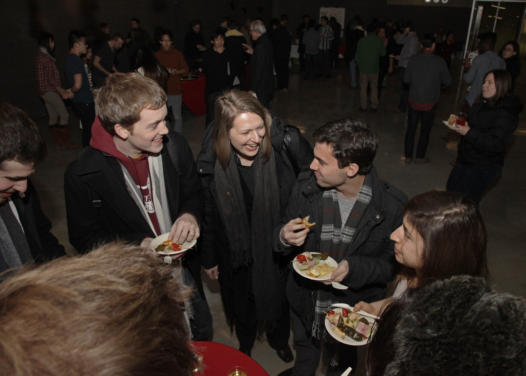 Dana Cupkova, center, with students at the closing reception in Milstein Dome.