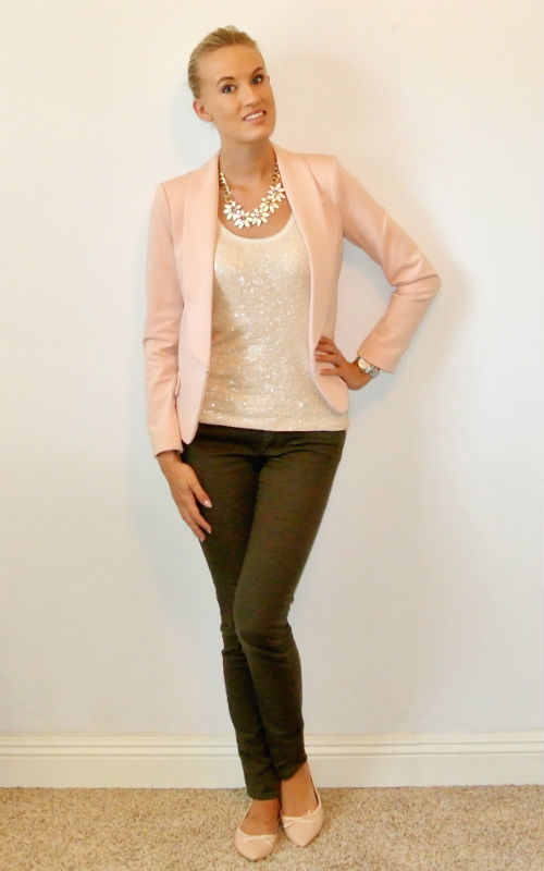 Outfit- blush pink and olive green