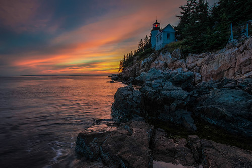 sunset lighthouse sunrise maine acadia bassharbor acadianationalpark bassharborheadlighthouse anawesomeshot