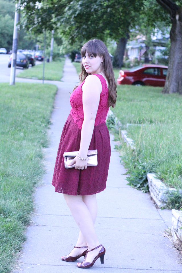 25th Birthday Outfit: burgundy and magenta half-moon lace dress from Anthropologie, burgundy patent-leather t-strap shoes from Target, Marc Jacobs for Target rose-gold pouch clutch, J.Crew pavé cable-link bracelet, Mociun hexagon ring