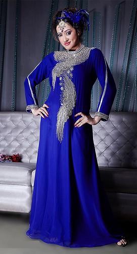 Stylish Blue Long Sleeve Kaftan