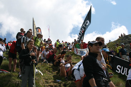 The crowded finish line of Vertical Kilometer