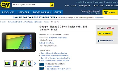 nouvelle Google Nexus 7 best buy