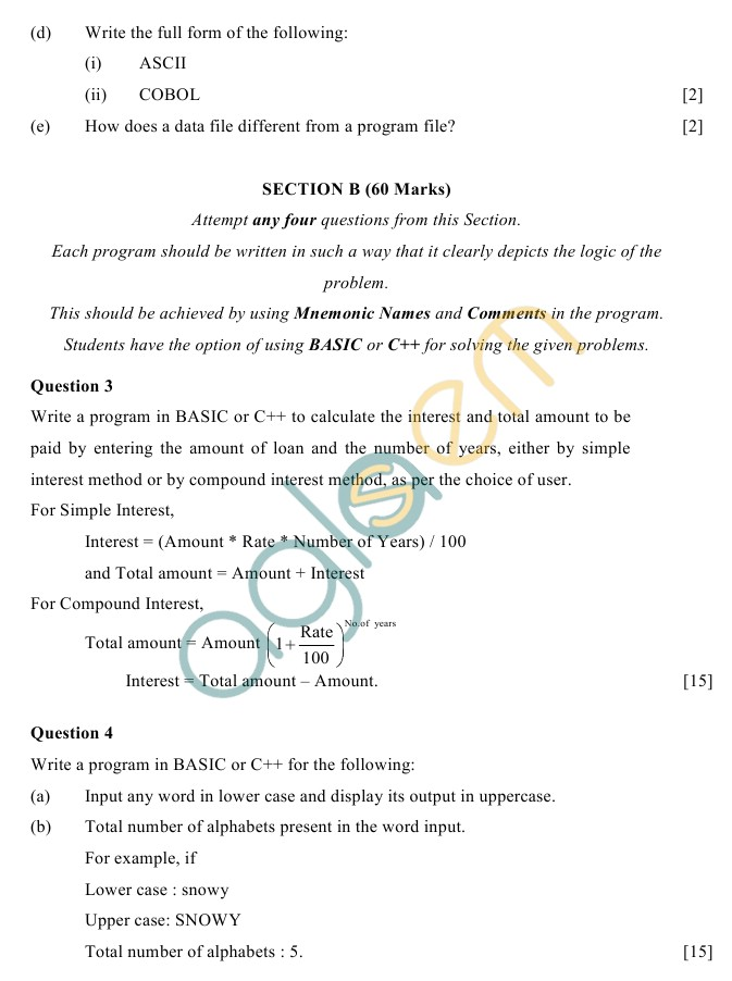 ICSE Class 10 Computer Science Sample Paper