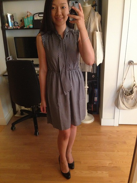 LOFT Polka Dot Tie Neck Dress, size XXS