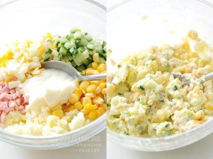 ... 片吐司,放入適量的馬鈴薯沙拉,再蓋上另一片吐司