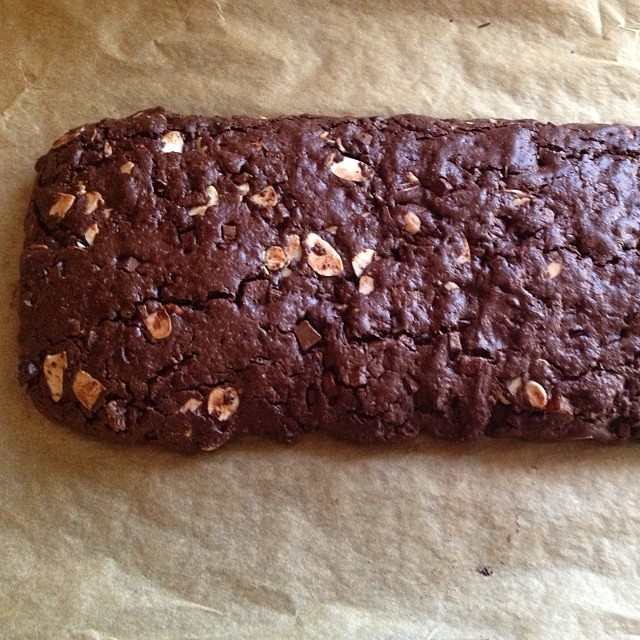 Double chocolate almond biscotti. Once baked.