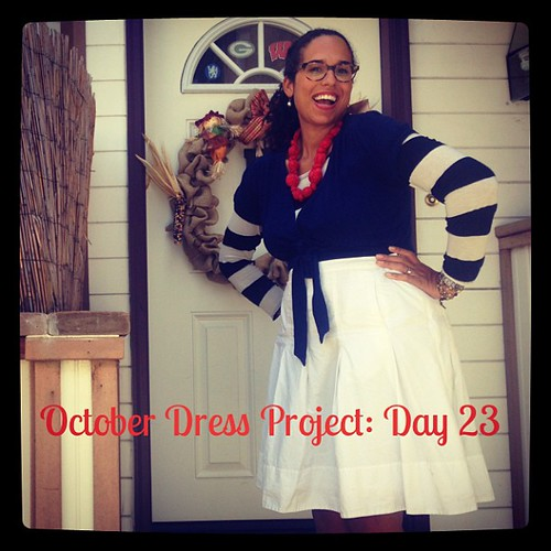 #ODP: Day 23. Trying my hand at a model-like pose. Hahahaha! Blue dress as top, added striped long sleeve shirt and full skirt. #ABeautifulMess