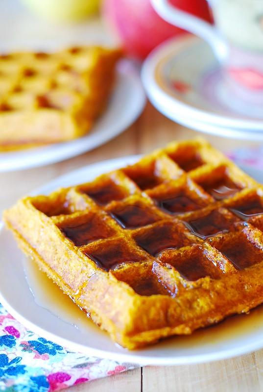 Pumpkin waffles with maple syrup, Thanksgiving breakfast recipes, Fall recipes, pumpkin recipes, buttermilk waffles