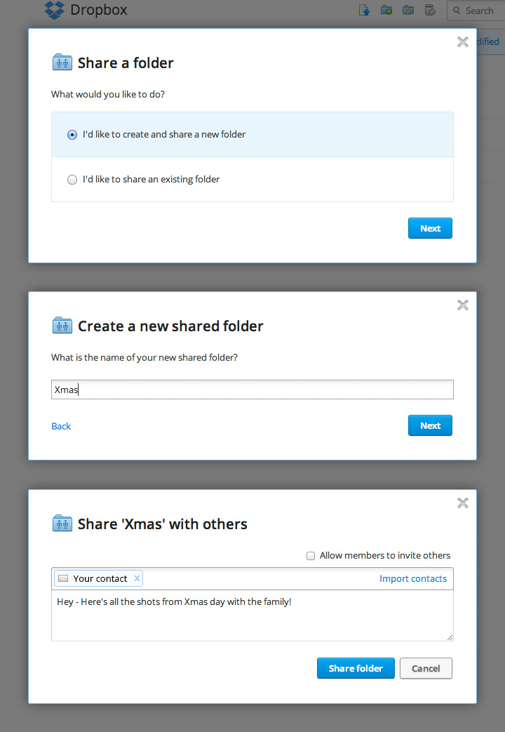 Create a new share folder.