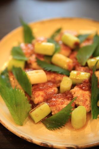 鶏つくねの梅肉ソース