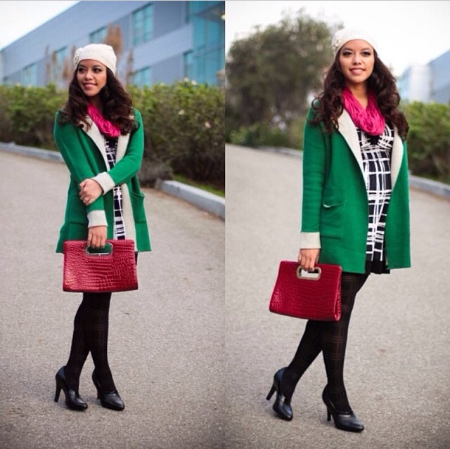 Green cardigan coat, grid dress, plaid tights, leather booties, red clutch, white beanie