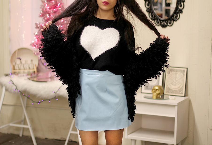 Shaggy cardigan, vinyl skirt, heart sweater
