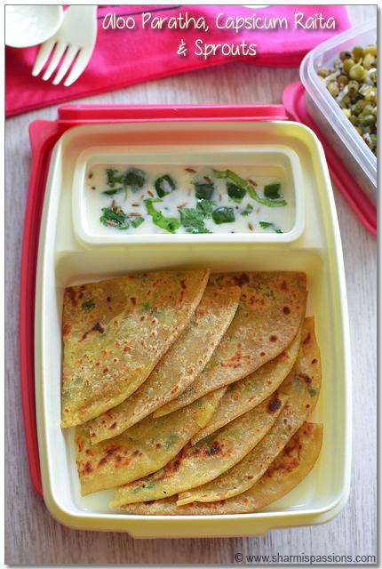 Aloo Paratha, Capsicum Raita & Sprouts Stir Fry