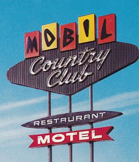Mobil Country Club Motel San Jose Sign Close-Up