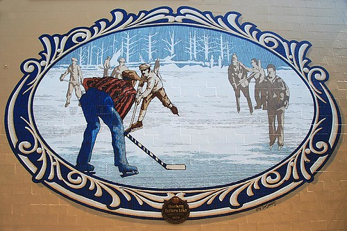 Mural depicting Hockey on Fuller Lake, Chemainus, Cowichan Valley, Vancouver Island, British Columbia