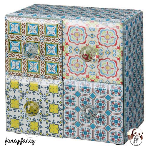 64.殖民風圖騰飾品收納盒-藍綠色