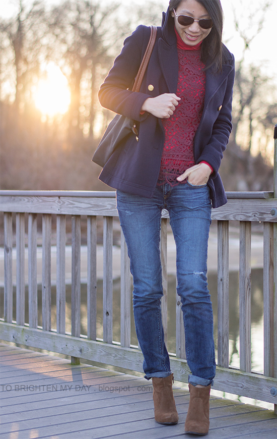 navy peacoat, burgundy lace top, brown suede ankle boots