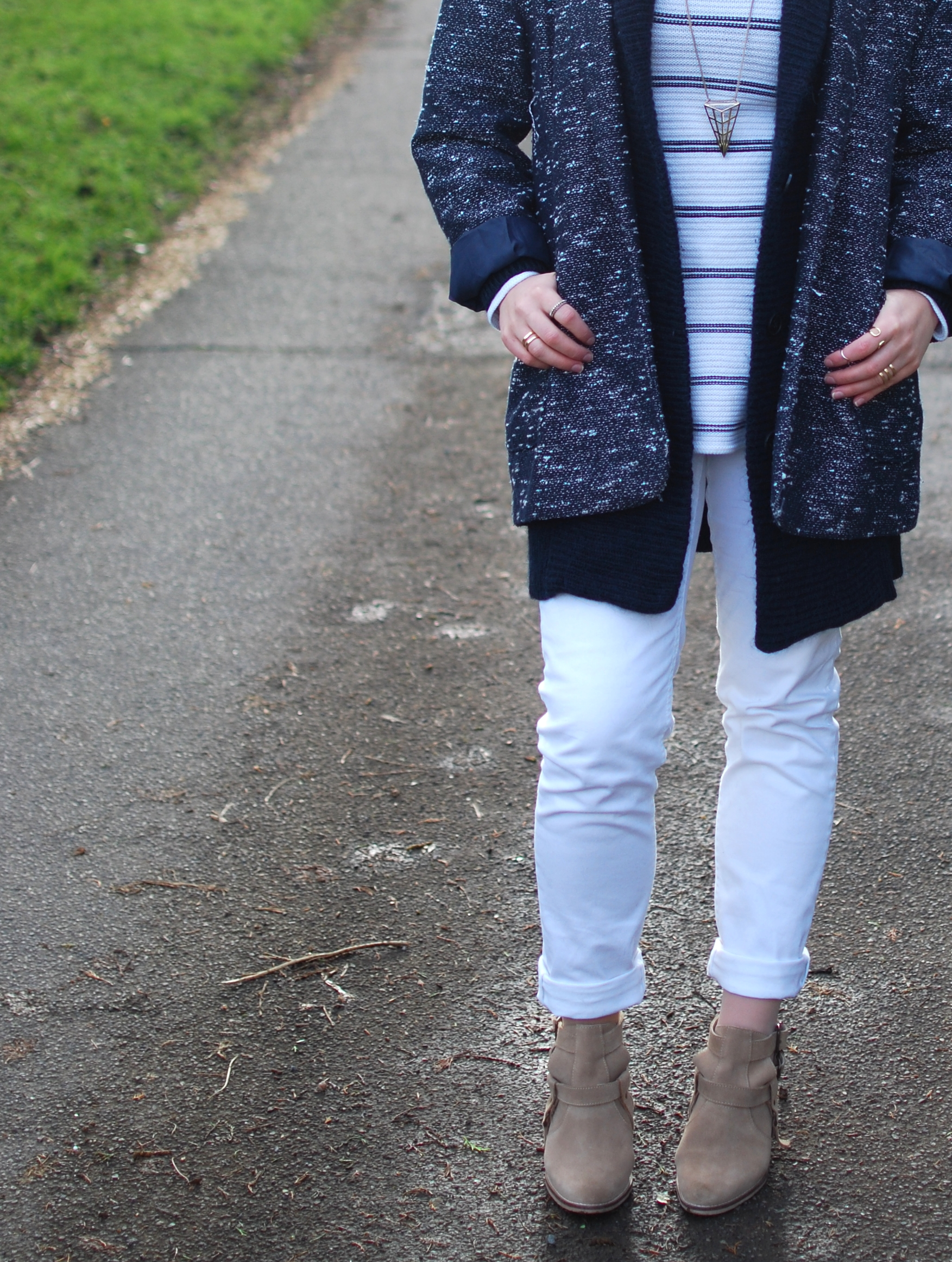 chambray and curls white jeans with layers for winter