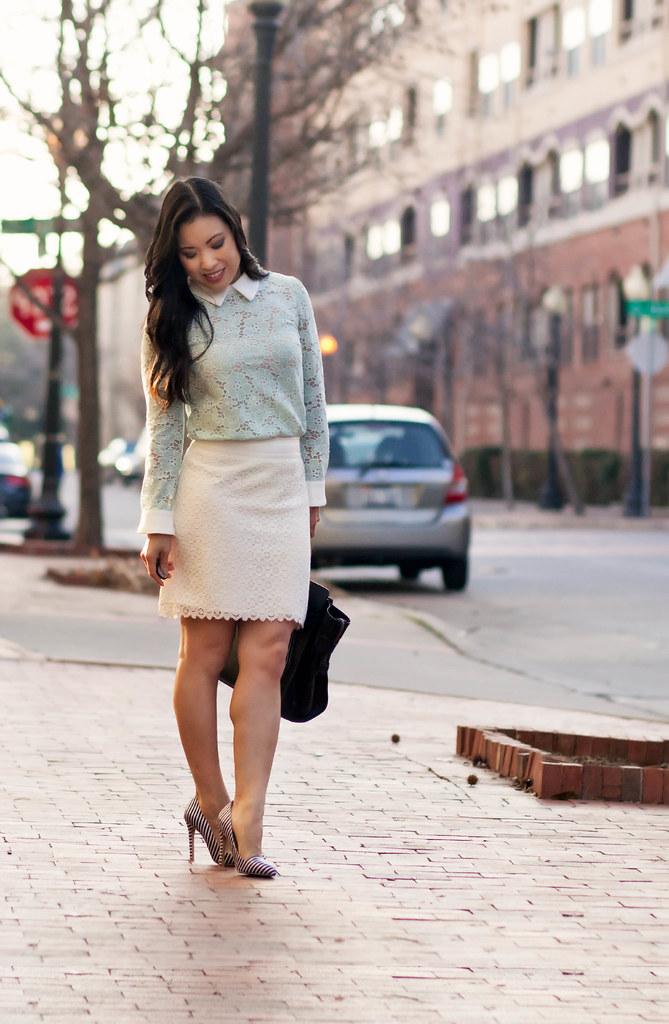 cute & little blog | choies mint lace collar shirt, lace pencil skirt, striped pumps outfit