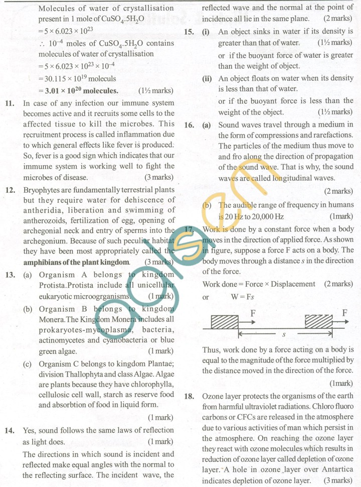 CBSE Solved Sample Papers for Class 9 Science SA2 - Set A