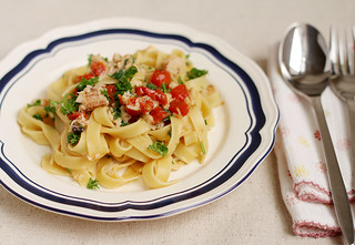 Tagliatelle with crab meat