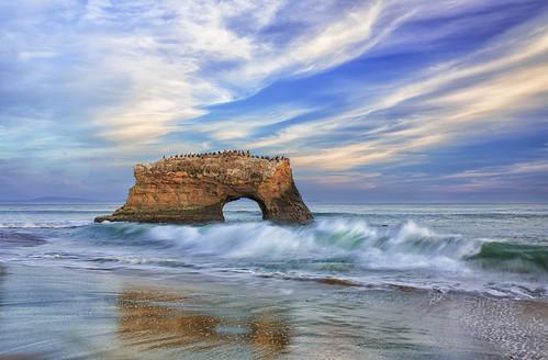 ocean california blue sunset santacruz seascape rock canon reflections landscape photography waves arch natural pacific shoreline bridges coastal naturalbridges ef1740 kptripathi kpsphotocom