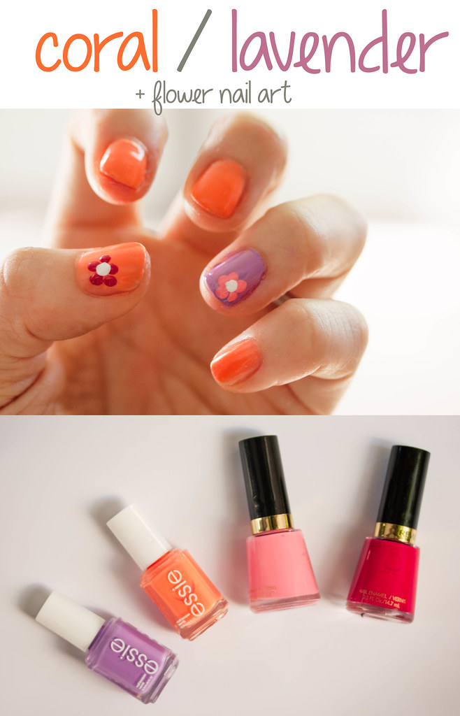 cute & little blog | spring 2014 nail trends | coral lavender | daisy flower nail art | #walgreensbeauty #shop