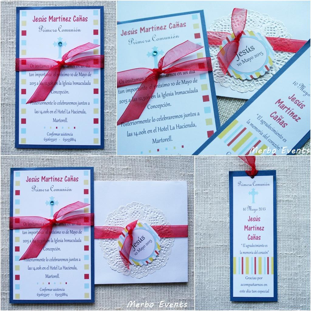 Conjunto invitaciones y punto de libro comunión niño Modelo Italy Merbo Events
