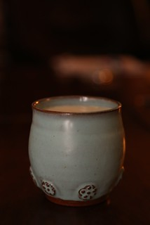 Homemade raw pastured cow milk yogurt at bed time served in a cup I made.