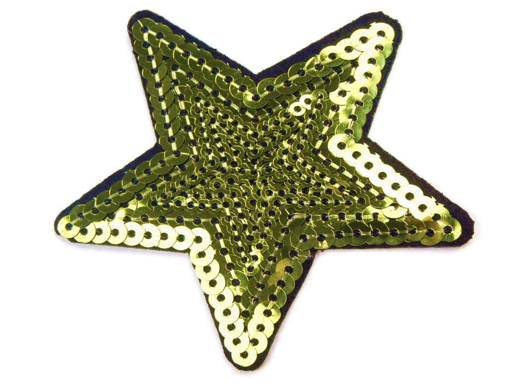 Paillettenstern, grün-gelb