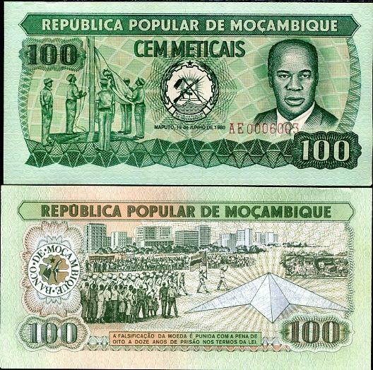 100 Meticais Mozambik 1980