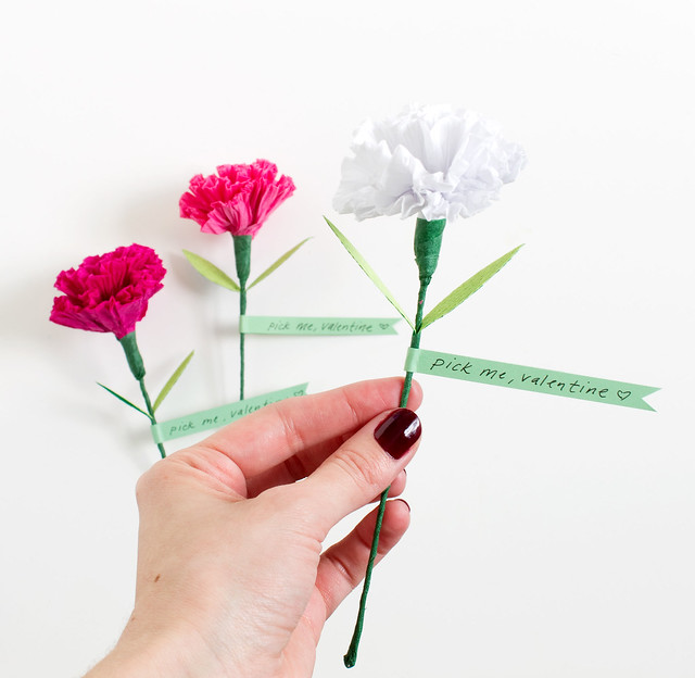 DIY Paper Carnation Valentine