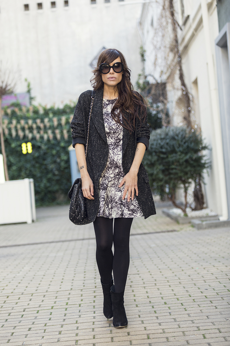 street style barbara crespo hake neoprene dress black and white fashion blogger outfit blog de moda