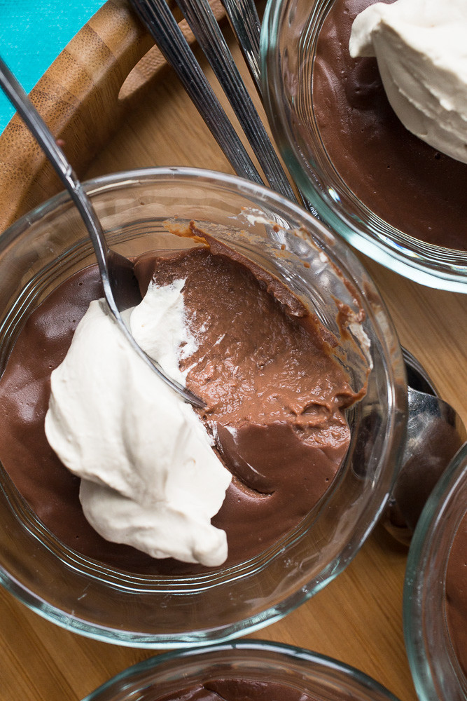 Dark Chocolate Pudding with Espresso Whipped Cream