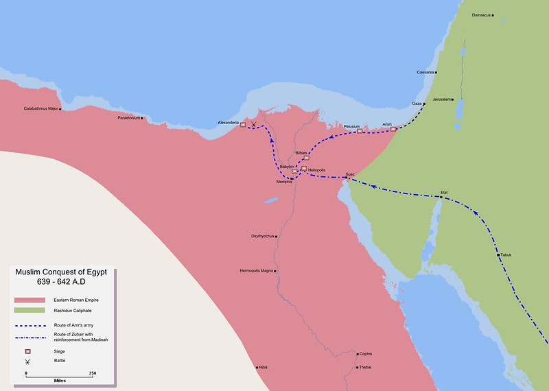 Map detailing the route of the Muslims' invasion of Egypt