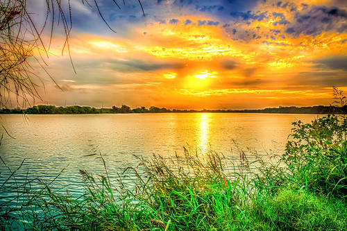 sky cloud water weather sunrise austin pond texas unitedstates nik hdr