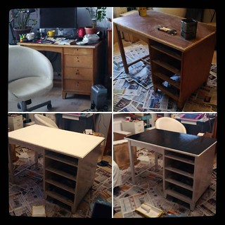 DIY furniture update, part 1 - old table: before and process, #kuzzzmahomesweethome