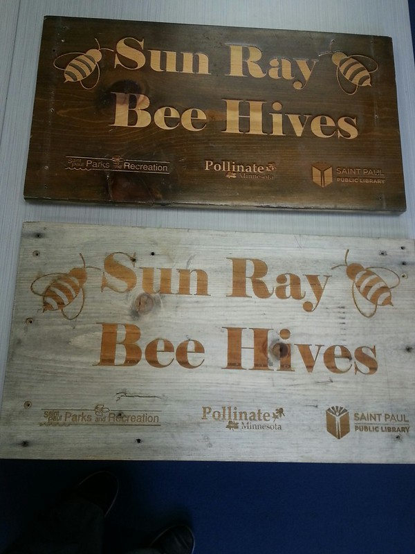 Sun Ray Library Bee Hive signs